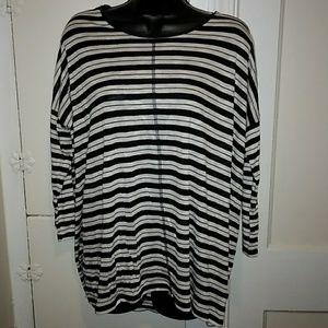 Jones New York Sheer Long Sleeved Striped Shirt